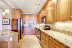 Modern kitchen with granite tops and island Royalty Free Stock Photo