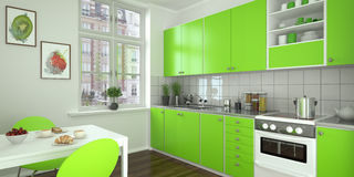 Modern kitchen - green Royalty Free Stock Images