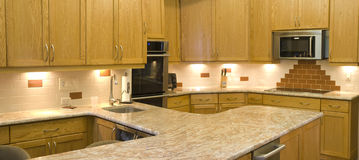 Modern kitchen horizontal panoramic Stock Photos