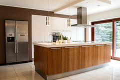 Modern kitchen with household goods Stock Images