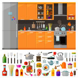 Modern kitchen icons set. vector. flat Stock Photography
