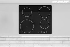Modern Kitchen with Induction Cooktop Stove top view. 3d Rendering. Modern Kitchen with Induction Cooktop Stove top view extreme closeup. 3d Rendering vector illustration