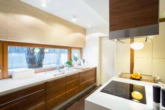 Modern kitchen inside new apartment Royalty Free Stock Image