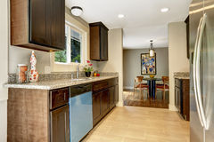 Modern kitchen inteior with dining area in new house Royalty Free Stock Image
