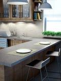 Modern kitchen interior. A modern kitchen interior view Royalty Free Stock Images