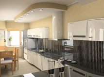 Modern kitchen interior. The modern kitchen interior design (3D rendering royalty free stock photography