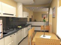 Modern kitchen interior. The modern kitchen interior design (3D rendering Stock Photography