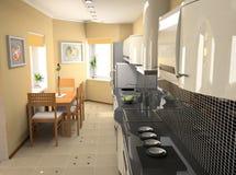 Modern kitchen interior. The modern kitchen interior design (3D rendering Royalty Free Stock Image