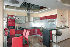Modern kitchen interior. Kitchen interior with modern decor Stock Image