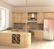 Modern Kitchen Interior. In 3D Stock Photos