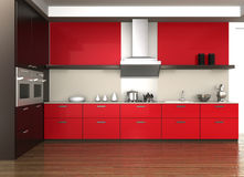 Modern kitchen interior. Design in red color theme Stock Images
