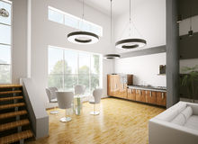 Modern kitchen interior 3d Royalty Free Stock Photography