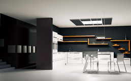 Modern kitchen interior 3d render. Interior of modern kitchen 3d render Stock Photography