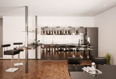 Modern kitchen interior 3d render Royalty Free Stock Images