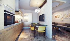 Modern kitchen interior 3d render Royalty Free Stock Image