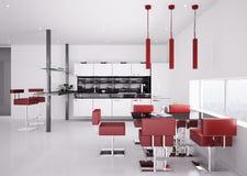 Modern kitchen interior 3d render Stock Photos