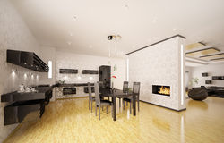 Modern kitchen interior 3d render Stock Images