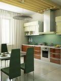 Modern kitchen interior. 3d rendering Royalty Free Stock Photos