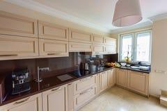 Modern kitchen interior. Appartement design Wide angle photo. Modern kitchen interior. Appartement design Wide angle Royalty Free Stock Photo