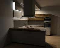 Modern kitchen. Interior of a modern and beautiful kitchen Stock Photos