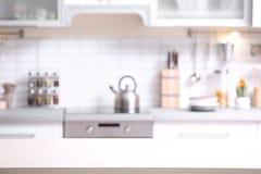 Modern kitchen interior. Blurred view stock images