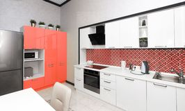 Modern kitchen interior. color of the year 2019 Living coral stock photo