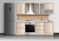 Modern Kitchen Interior Composition. Kitchen furniture realistic interior composition with closed kitchen cabinets fridge sink and gas stove with reflexions Royalty Free Stock Photography
