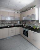 Modern kitchen interior conservative tones, 3D render. Modern interior design ideas. 3d visualization of kitchen interior design stock photo