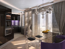Modern kitchen interior, 3d interior Stock Images