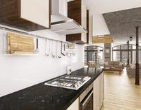 Modern kitchen interior 3d render Stock Photo