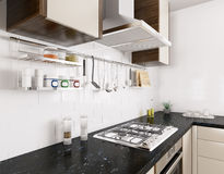 Modern kitchen interior 3d rendering Royalty Free Stock Photography