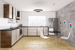 Modern kitchen interior 3d rendering Royalty Free Stock Image