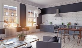 Modern kitchen interior. Royalty Free Stock Photo