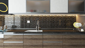 Modern kitchen interior design. Modern kitchen design  interior background for your product Royalty Free Stock Photography