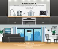 Modern Kitchen Interior Design Banners Royalty Free Stock Photography