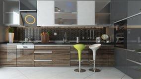Modern kitchen interior design. Black ceramic and wooden furniture under light modern kitchen 3d design Stock Image