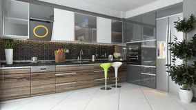 Modern kitchen interior design Stock Photo