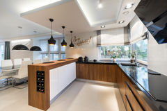 Modern kitchen interior design. In black and white style