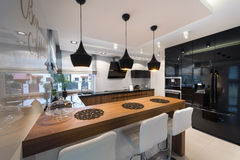 Modern kitchen interior design Stock Images