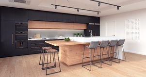 Modern kitchen interior design. 3D Rendering stock photos