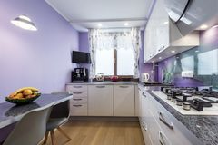 Modern kitchen interior design. In lavender, violet  finishing Royalty Free Stock Photos