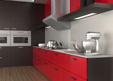 Modern kitchen interior. Design in red color theme Stock Photos