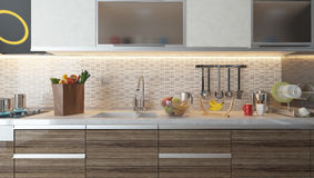 Modern kitchen interior design with white ceramic wall Royalty Free Stock Images