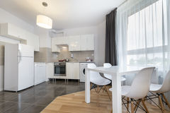 Modern kitchen interior design in white color Stock Photos