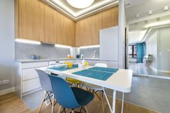 Modern kitchen interior design. In white finishing Royalty Free Stock Image