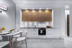 Modern kitchen interior design. In white finishing Royalty Free Stock Photo