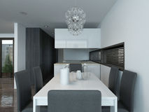 Modern kitchen interior with dining table setting stock