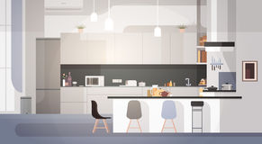 Modern Kitchen Interior Empty No People House Room royalty free illustration
