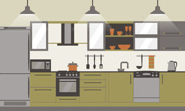 Modern kitchen interior flat design  with home furniture and kithenware. Front view. Vector illustration. Kitchen interior design with home furniture and Stock Images