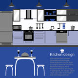 Modern kitchen interior flat design  with home furniture and kithenware. Front view. Vector illustration. Blue color Stock Photos